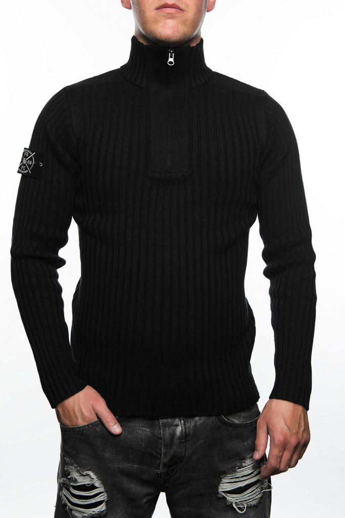 Knitted Jumper, Zwart met Stone Island - FRFC1908 Patch