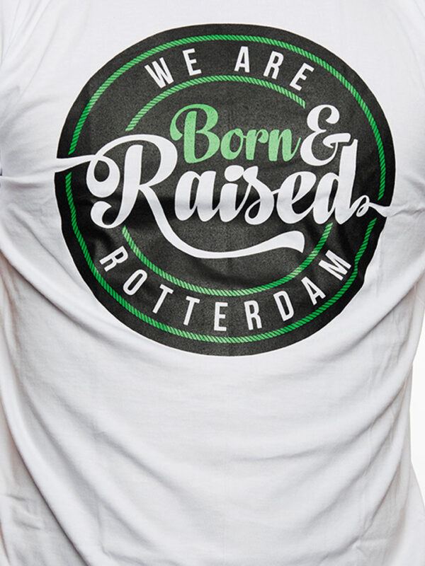 T-Shirt, Born & Raised in Rotterdam, Wit