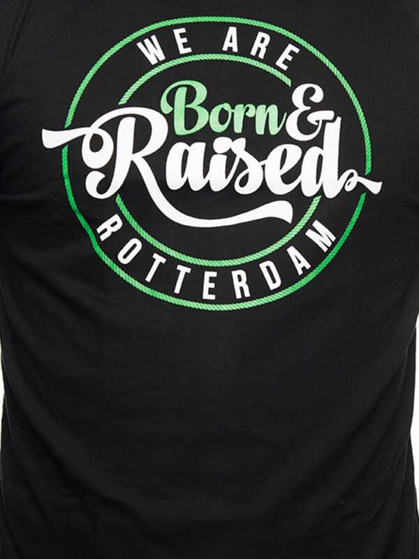 T-Shirt, Born & Raised in Rotterdam, Zwart