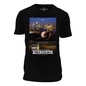 Death by Zero-One-Zero, Rotterdam Night Times T-Shirt, V-Neck