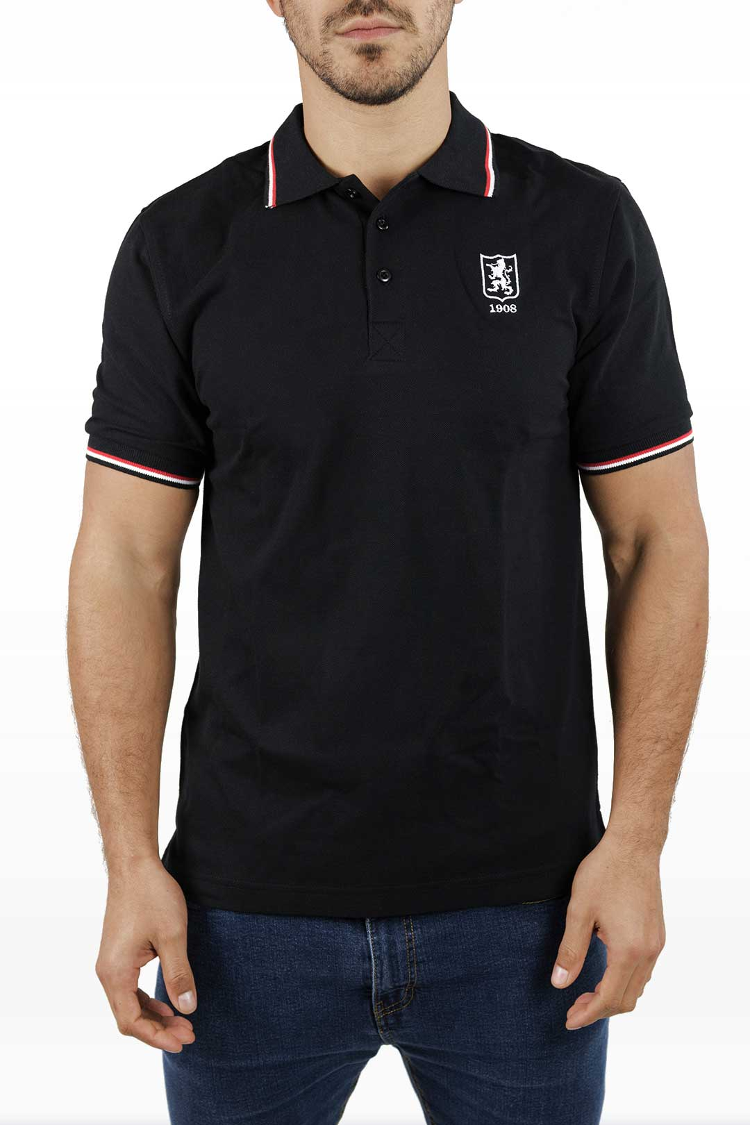 Double Tipped Polo, Rood/Wit (zwart)