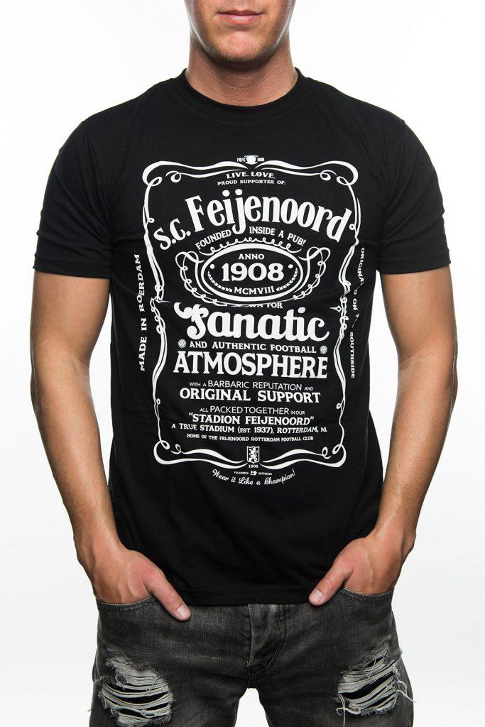 T-Shirt Feyenoord Jack Daniels Style, Zwart met Wit